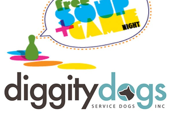 Free Soup & Games Night Fundraiser at Hope & Olive in Greenfield in support of Diggity Dogs Service Dogs Inc. in Shelburne, MA